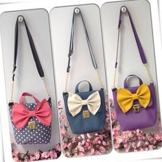 What Do You Prefer? Polka Dot & Pink Bow?Navy & White Bow?Purple & Yellow Bow? Mini Me Messenger Bag. Hand Made by Elissavet Maurogenni https://www.facebook.com/playroomshowroom
