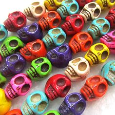 Beautiful & colorful skull beads!