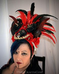 Kali Heathen Headdress #DEHD34 #headdress #featherheaddress #festivalheaddress #tribalheaddress