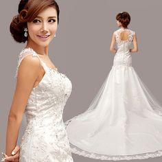 2015 Casamento White Wedding Dress Mermaid Wedding Dresses With Train Vestido De Noiva Vintage Plus Size Lace Wedding Dress