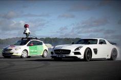 Google Street View car versus The Stig in Mercedes SLS is not a fair fight