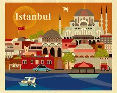 Le città del mondo nelle stampe artistiche di #KarenYoung - #Istanbul
