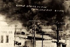 """""""Little Africa on Fire, Tulsa Race Riot, June 1, 1921""""  On May 30, 1921, a rumor emerged in Tulsa, Oklahoma that a young Black man named Dick Rowland had insulted, or even raped, a white woman near his workplace.  Soon thereafter a mob of white men formed a gang with the intent of lynching Rowland, but in this instance, the Black community in Tulsa stepped forward to defend Rowland and prevent the lynching..."""