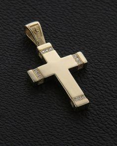 Σταυρός βάπτισης χρυσός Κ14 με Ζιργκόν Cross Jewelry, Jewelry Rings, Masonic Order, Gold Cross, Crosses, Cross Pendant, Christening, Gold Rings, Christian