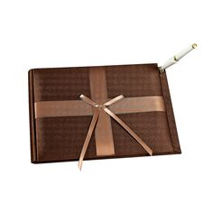 Brown Wedding Guest Book With Pen - OrientalTrading.com