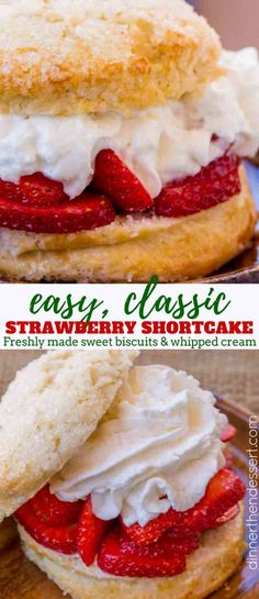 Easy Strawberry Shortcake - Dinner, then Dessert Easy Strawberry Shortcakes with freshly made sweetened biscuits, homemade whipped cream and lightly sweetened strawberries in less than an hour. Biscuits For Strawberry Shortcake, Shortcake Recipe Easy, Shortcake Biscuits, Healthy Strawberry Shortcake, Easy Strawberry Desserts, Strawberry Shortcake Whipped Cream Recipe, Recipes With Strawberries, Strawberry Dessert Recipes, Köstliche Desserts