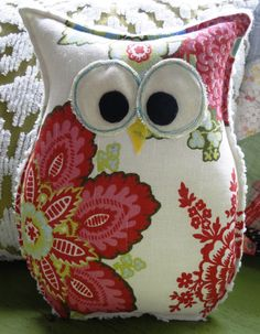 Owl Pillow by buttonbirddesigns on Etsy_I'd like to make this in a smaller size to set on sewing table or book shelf.