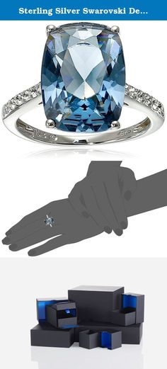 Sterling Silver Swarovski Denim Blue Color and Clear Crystal Ring, Size 7. Sterling silver ring featuring radiant-cut simulated center stone and Swarovski accent crystals on band. Imported.