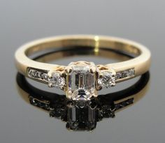 14k Gold and Emerald Cut Diamond Engagement Ring by MSJewelers, $1385.00