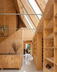 Love the design, skylights and that woodsy feel. with ・・・ Such a stunning project of a wooden house designed by the architects Lauren van Santen and Diederik de Konig! It is located in and photographed by Peter Tijhuis Timber Architecture, Architecture Design, Wooden House Design, Plywood Interior, Wood Interiors, House In The Woods, Interiores Design, Cheap Home Decor, Home Remodeling