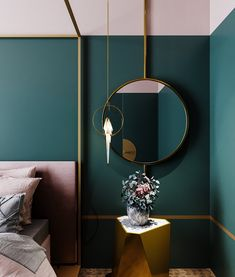Love this luxurious and feminine bedroom, with gold lines and geometric shapes, in blush pink and rich green. Pink Bedroom Decor, Bedroom Green, Green Rooms, Bedroom Colors, Pink Gold Bedroom, Pink Green Bedrooms, Jewel Tone Bedroom, Design Bedroom, Bedroom Ideas
