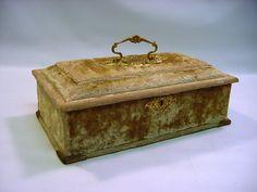 "Antique Victorian Velvet Silk 12"" x 7"" Jewelry Sewing Box w Lock   eBay"