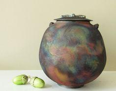 Pequeño mate cobre Raku urna urna de recuerdo por TeahousePottery