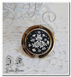 Black & White crochet sac Polymer Clay crochet Applique broderie florale filigrane fleur Hanger Purse crochet main sac titulaire sac accessoire