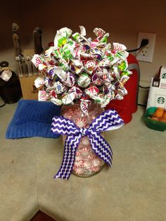 Candy bouquet. I made this as a birthday gift for my best friend. You just get a mason jar, a styrofoam ball, and your friend's favorite candy.