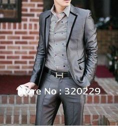 Free-shipping Slim /wedding -suit men New Men's Suit (Jacket+pant) Color:Black Silver gray Size:S-M-L-XL-XXL(China (Mainland))