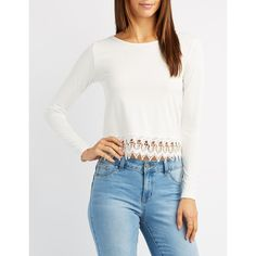 Charlotte Russe Crochet-Trim Caged-Back Top ($14) ❤ liked on Polyvore featuring tops, ivory, boat neckline tops, white boat neck top, long sleeve boat neck top, boat neck tops and crochet trim top