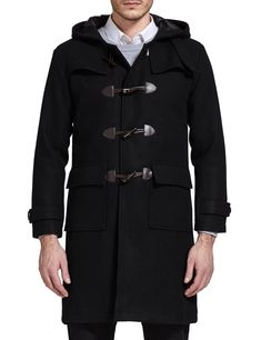 Annystore Womens Duffle Toggle Coat Long Wool Blended Hooded Pea Coat Jacket