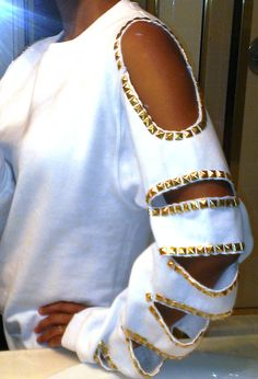 Studded Cut Out Sweatshirt by StuddedGoddess on Etsy, $38.00. You can get them custom made with choice of colors too!!!