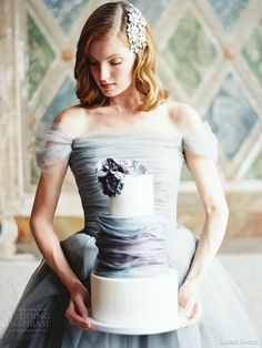 sareh nouri bridal fall 2014 marie antoinette wedding dress bodice close up blue cake