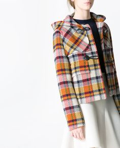 Image 4 of SHORT CHECKED DUFFLE JACKET from Zara