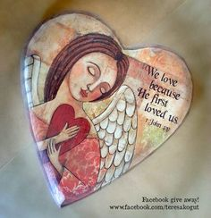 It's give away time! The drawing for this sweet heart-shaped wooden angel plaque by Demdaco will be in May. Follow the directions below to get your name entered in the drawing. 1. Like my page, www.facebook.com/teresakogut 2. Post a comment. The topic this month is your favorite dessert.(share recipe if possible) 3. Share this post on your page. and voila! you're name is entered!