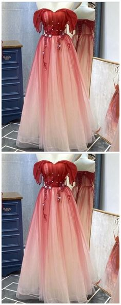 Beautiful Long Red Off Shoulder Tulle Gradient Party Dress, New Prom Dress 2020  by Ai prom dresses, $134.36 USD A Line Prom Dresses, Sexy Dresses, Beautiful Dresses, Evening Dresses, Fashion Dresses, Prom Dance, New Dress, Perfect Fit, Custom Made