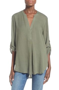 Lush Woven Tunic available at #Nordstrom Love the dusty olive shade