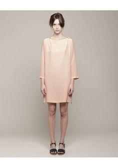 A.P.C. Peach Silk shift dress zipper slits