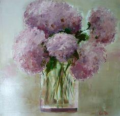 Organic Gardening Supplies Needed For Newbies Hydrangeas - Nicole Pletts Rose Art, Flower Art, Art Flowers, Beautiful Paintings, All Art, Still Life, Peonies, Flower Paintings, Painting Flowers