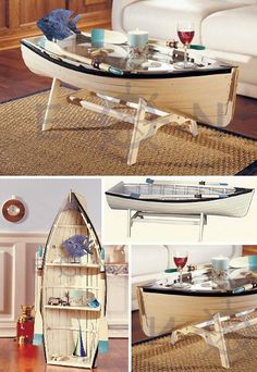 This Nautical Rowing Dory Coffee Table is 48 inches long, with a glass top! Or add the removable shelves it comes with and stand it on end to use as a bookshelf! This is my beach house coffee table. I love it, so fun! Boat Furniture, Nautical Furniture, Diy Furniture, Furniture Design, Glass Furniture, Furniture Making, Unusual Coffee Tables, Modern Coffee Tables, Boot Regal
