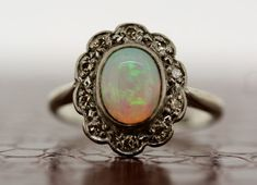 Antique Opal Ring - 1930s Vintage Opal & Diamond Ring.. THIS. OPAL. VINTAGE. THIS.