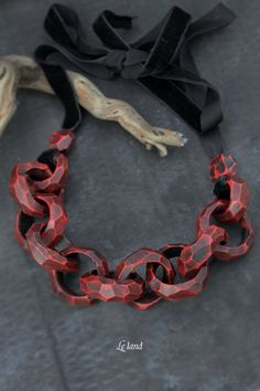 Bib Necklace gift Inspirational necklace Chain Link Necklace Unique Large Necklace for Womens Jewelry Red Black Jewelry Gift for Her