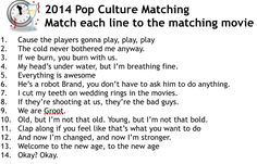 Four great New Year's Eve party games including this really fun pop culture matching game