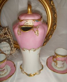 "Limoges - Chocolate Pot - 4 Cups - Saucers - Hand Painted -  ROSES - Gold  - Enamel ""Jewels"""