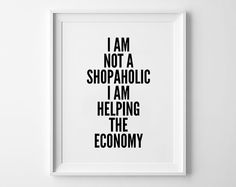 Shopaholic Poster print art typography art wall by mottosprint
