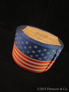 "Antique Patriotic ""Silk American Flag Ribbon "",Made in France by EbenezerandCompany"
