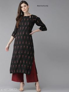 Kurtis & Kurtas Women's Black Printed Rayon Kurti Fabric: Rayon Sleeve Length: Three-Quarter Sleeves Pattern: Printed Combo of: Single Sizes: S (Bust Size: 36 in Size Length: 46 in)  XL (Bust Size: 42 in Size Length: 46 in)  L (Bust Size: 40 in Size Length: 46 in)  M (Bust Size: 38 in Size Length: 46 in)  XXL (Bust Size: 44 in Size Length: 46 in) It has one piece of Kurti only Country of Origin: India Sizes Available: S, M, L, XL, XXL   Catalog Rating: ★4.1 (511)  Catalog Name: Abhisarika Sensational Kurtis Only CatalogID_1972417 C74-SC1001 Code: 583-10729622-