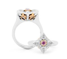 A handcrafted white gold, rose gold, pink and white diamond ring. Featuring a central round brilliant cut diamond set between two Argyle pink pink cut diamonds surrounded by a halo of white and pink diamonds. The underside of the setting is also detailed with a pair of round brilliant cut diamonds. enquiries@rohanjewellery.com White Diamond Ring, Round Cut Diamond, Statement Rings, Handcrafted Jewelry, Halo, White Gold, Pink Diamonds, Rose Gold, Jewels