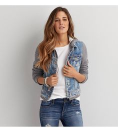 Medium Wash AEO Hooded Denim Jacket | $66.90
