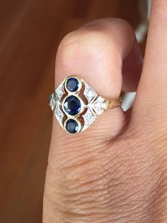 Antique 14K Yellow Gold Filigree Triple Sapphire by OldTimeSparkle