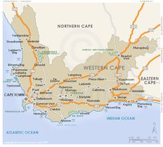 Regional map of the Western Cape, South Africa. Hybrid physical / polital map indicating cities, major towns, national roads and game reserves . Beaufort West, Writing Numbers, Africa Travel, Regional, Continents, Travel Guide, South Africa, Westerns, Cape