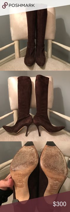 Jimmy Choo suede boots. Authentic!! Great used condition! See pics for Wear! A ton of life left!! Jimmy Choo Shoes Heeled Boots