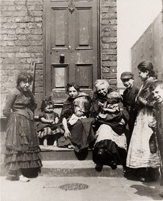Inch Print - High quality prints (other products available) - circa A ragged group sitting on a doorstep in a Liverpool slum. (Photo by J. Burke/Hulton Archive/Getty Images) - Image supplied by Fine Art Storehouse - Photograph printed in the USA Vintage Pictures, Old Pictures, Old Photos, Antique Photos, Victorian Life, Victorian London, Liverpool History, Old London, British History