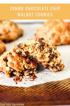 These Jumbo Chocolate Chip Walnut Cookies are your go-to fix for when  you want a HUGE chocolate chip walnut cookie with a firmer, slightly  crisp outside and a super gooey, almost cookie-dough like center. Is there such a thing? Yes, there is, and it's totally possible to make them at home.