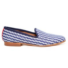 Women's Blue Wavy Gingham $325 now in stock! www.deltoroshoes.com