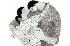 a black and white valentines day couple illustration by Tali Yalonetzki Heart Illustration, Couple Illustration, Ink Illustrations, Hugs, The Embrace, Stippling, Elements Of Art, Mark Making, Artsy