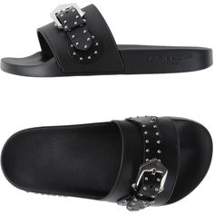 Givenchy Sandals (£154) ❤ liked on Polyvore featuring shoes, sandals, black, buckle shoes, leather flat shoes, black buckle shoes, givenchy sandals and black flat shoes