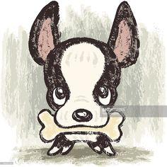 Vector Art : Boston terrier and bone