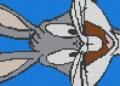 Bugs Bunny, Looney Tunes, Cross Stitch Charts, Cross Stitch Patterns, Pixar Concept Art, Stitch Character, Melty Bead Patterns, Beaded Banners, Stitch Cartoon